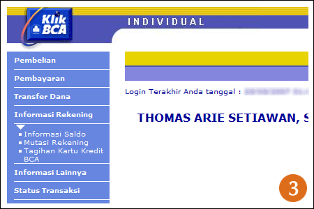 Klik BCA Balance Information menu tab