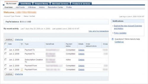 Paypal My Account Overview