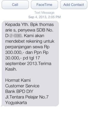 SMS dari Bank BPD DIY